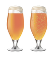 White beer in glass with drops vector image vector image