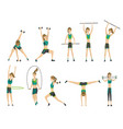 woman fitness many icons girl doing sport vector image vector image