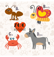 Zoo alphabet with funny animals A b c d letters vector image vector image