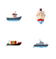 flat icon boat set of delivery transport ship vector image
