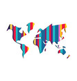 world map colorful paper cut abstract vector image