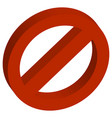 3d red empty forbidden vector image vector image