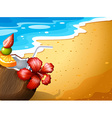 A beach and a refreshing drink vector image vector image