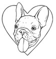 a dog in love shape logo and character vector image vector image