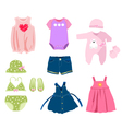 Baby girl elements clothes vector image vector image