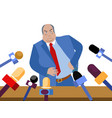 bad politician corrupt official gives interviews vector image vector image