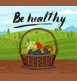 be healthy banner with basket full of berry vector image vector image