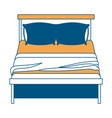 bed wooden with blanket and pair pillows color vector image