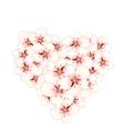 Bouquet sakura pink flowers in shape heart vector image vector image