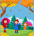 cartoon happy kid playing with autumn background vector image vector image