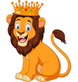cartoon lion wearing a crown vector image vector image