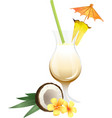Cocktail Pina Colada with garnish vector image vector image
