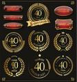 collection anniversary retro laurel wreats 40 vector image vector image