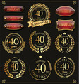 collection of anniversary retro laurel wreats 40 vector image vector image