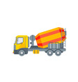 concrete mixer truck side view vector image vector image