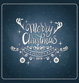 creative christmas icon vintage chalk board style vector image