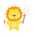 cute lion with a party popper lovely cartoon vector image vector image