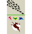 Deer Running Silhouettes vector image vector image