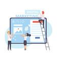 digital marketing businesspeople working on vector image vector image
