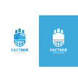 factory and planet logo combination unique vector image vector image