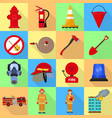 fire fighter icon set flat style vector image
