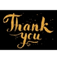 Golden glitter paint hand drawn Thank You sign on vector image
