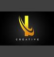 golden letter i logo i letter design with golden vector image
