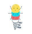 hand drawing cute ice cream vector image vector image