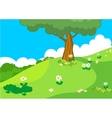 hill with tree lanscape vector image