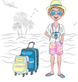 hipster traveler guy with suitcases on the sea bea vector image vector image