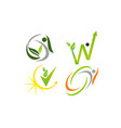 leaf health template set vector image vector image