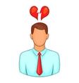 Man and broken heart icon cartoon style vector image