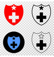medical shield eps icon with contour vector image vector image