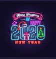 merry christmas and 2020 happy new year neon sign vector image