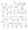 Outline figures of farm