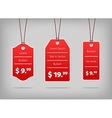 Red hanging pricing tags or labels with white vector image vector image
