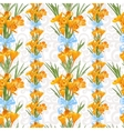 Seamless backround from spring yellow crocuses vector image vector image