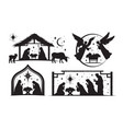 set four silhouetted nativity scenes vector image