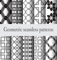 set geometric seamless pattern monochrome vector image