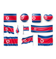 set north korea flags banners banners symbols vector image