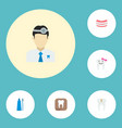 set of tooth icons flat style symbols with dental vector image