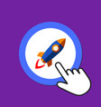 space rocket icon launching startup concept hand vector image vector image