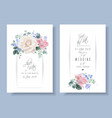 vintage floral wedding cards with roses vector image vector image
