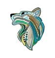 Vintage wolf head with colorful ethnic ornament vector image