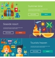 Set of flat design flyers headers with summer vector image