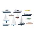 Motor boat and sailboat set vector image