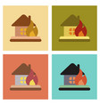 assembly flat icons nature fire house vector image