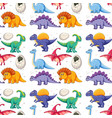 a dinosaur on seamless pattern vector image
