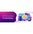 addressable tv advertising concept banner header vector image vector image