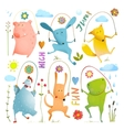 Animal Set Jumping Rope Colorful Collection vector image vector image